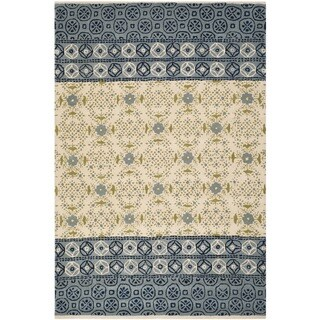 Safavieh Handmade Bella Ivory/ Blue Wool Rug (4' x 6')