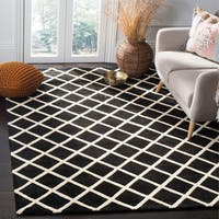 Safavieh Handmade Moroccan Black Wool Rug with Geometric Pattern - 6' x 9'