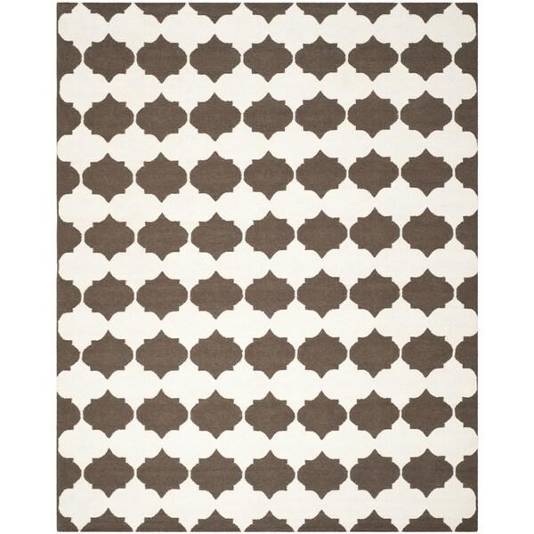 Safavieh Hand-woven Moroccan Reversible Dhurrie Brown Wool Rug - 9' x 12'