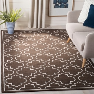 Safavieh Hand-woven Moroccan Reversible Dhurrie Transitional Brown Wool Rug (9' x 12')
