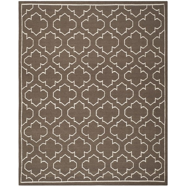 Safavieh Hand-woven Moroccan Reversible Dhurrie Transitional Brown Wool Rug - 9' x 12'