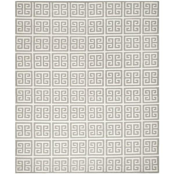 Safavieh Handwoven Moroccan Reversible Dhurrie Grey Pure Wool Rug (6' x 9')