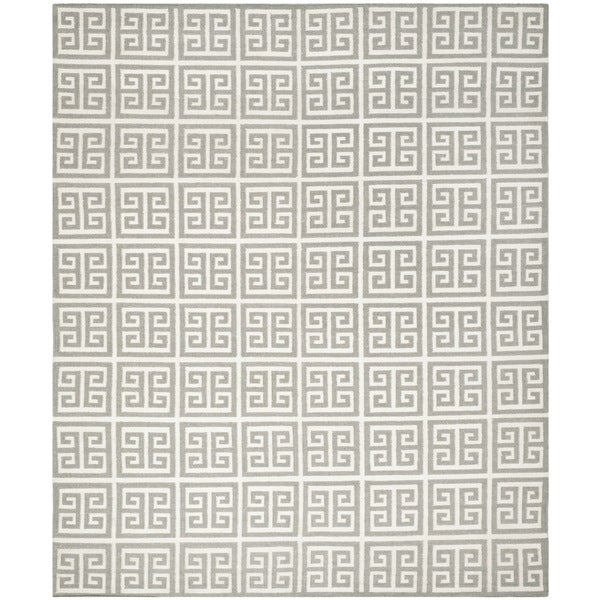 Safavieh Hand-woven Moroccan Reversible Dhurrie Grey Wool Rug - 9' x 12'