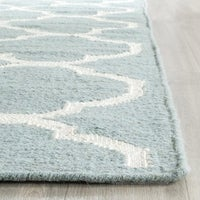 Safavieh Contemporary Handwoven Moroccan Reversible Dhurrie Blue Wool Rug 9 X
