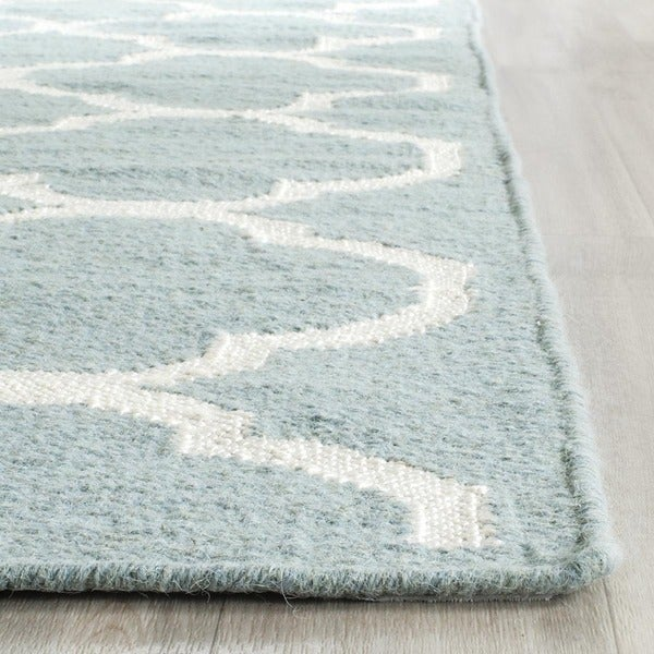 Safavieh Contemporary Handwoven Moroccan Reversible Dhurrie Blue Wool Rug - 9' x 12'