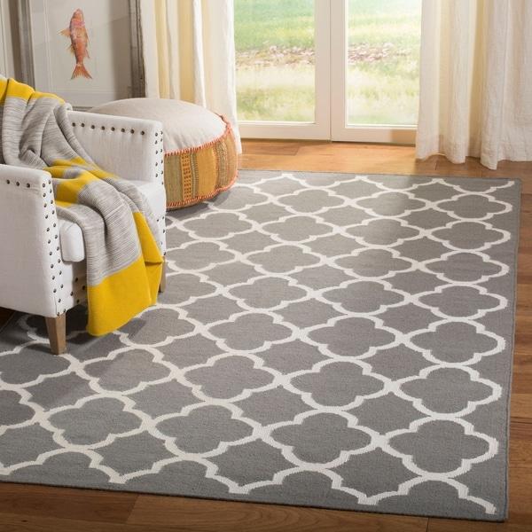 Safavieh Hand-woven Dhurrie Flatweave Grey/ Ivory Wool Rug - 8' x 10'