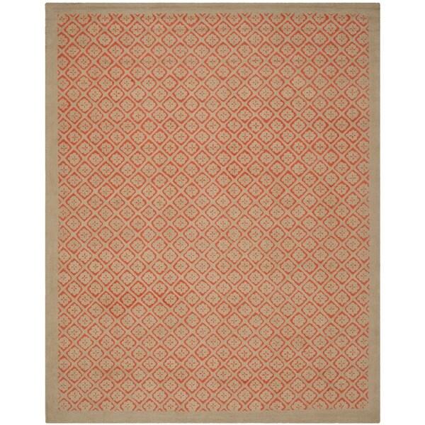 Martha Stewart Blossom Lattice Quince Blossem Red Wool Rug (7'9 x 9'9)