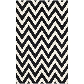 Safavieh Handmade Moroccan Cambridge Chevron Black Wool Rug (8' x 10')