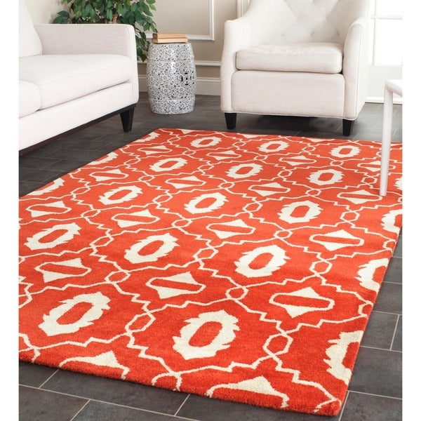Safavieh Handmade Moroccan Chatham Orange Wool Rug - 8' x 10'