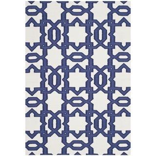 Safavieh Handwoven Moroccan Reversible Dhurrie Ivory Wool Geometric Rug (8' x 10')