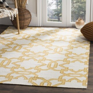 Safavieh Handwoven Yellow-Lattice Moroccan Reversible Dhurrie Ivory Wool Rug (3' x 5')