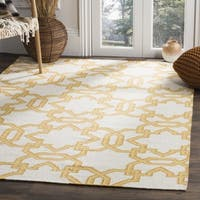 Safavieh Handwoven Yellow-Lattice Moroccan Reversible Dhurrie Ivory Wool Rug - 3' x 5'