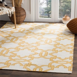 Safavieh Transitional Handwoven Moroccan Reversible Dhurrie Ivory Wool Rug (8' x 10')