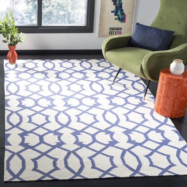 Safavieh Handwoven Blue-Patterned Moroccan Reversible Dhurrie Ivory Wool Rug (3' x 5') - 3' x 5'
