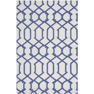 Safavieh Handwoven Moroccan Reversible Dhurrie Ivory Wool Geometric Rug (4' x 6')