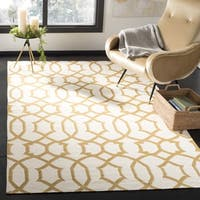 Safavieh Handwoven Yellow-Patterned Moroccan Reversible Dhurrie Ivory Wool Rug - 3' x 5'