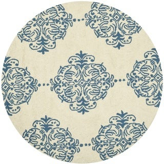 Safavieh Hand-hooked Chelsea Ivory/ Blue Wool Rug (3' x 3' Round)