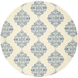 Safavieh Hand-hooked Chelsea Ivory/ Blue Wool Rug (8' x 8' Round)