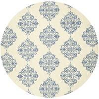 Safavieh Hand-hooked Chelsea Ivory/ Blue Wool Rug - 8' Round