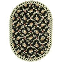 Safavieh Hand-hooked Chelsea Black/ Ivory Wool Rug - 4'6' x 6'6 oval