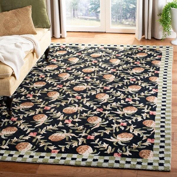 Safavieh Hand-hooked Chelsea Black/ Ivory Wool Rug - 7'9 x 9'9