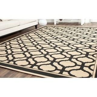 Martha Stewart by Safavieh Tangier Cream/ Black Indoor/ Outdoor Rug - 6'7 x 9'6
