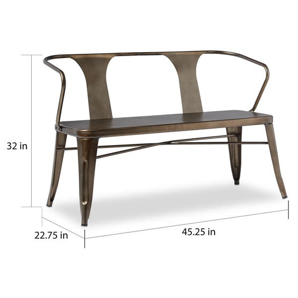 Astonishing Shop Vintage Metal Dining Bench With Back Free Shipping Forskolin Free Trial Chair Design Images Forskolin Free Trialorg
