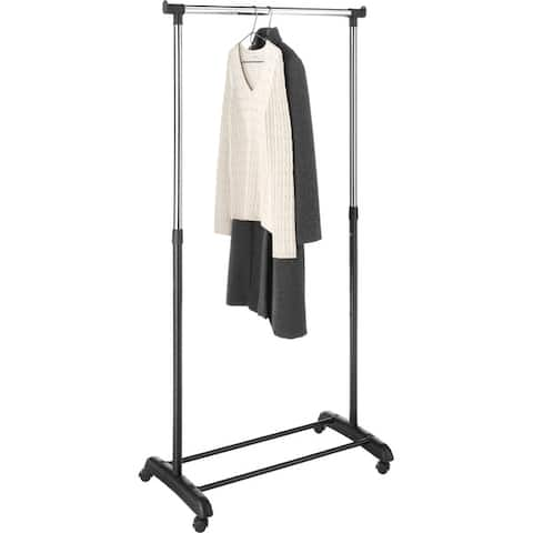 Whitmor Deluxe Adjustable Garment Rack + Shoe Rack with 4 Wheels w/ Locking Practical Storage Space for Clothing