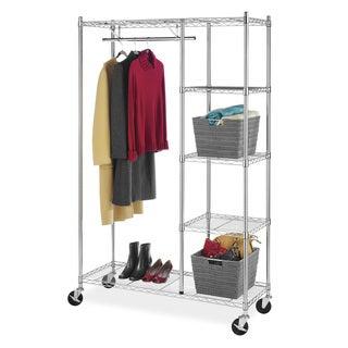 Whitmor 6058-4320-BB Commercial Grade Chrome 4-shelf Rolling Garment Rack