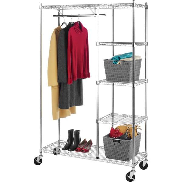 Whitmor 6058 4320 Bb Commercial Grade Chrome 4 Shelf Rolling Garment Rack 15363976 Overstock