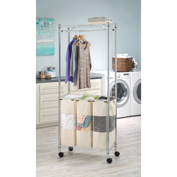Shop Whitmor 6058 546 Rolling 3 Section Laundry Hamper with