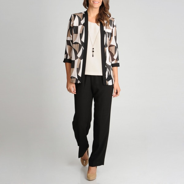 R & M Richards Women's Mock 2-piece Abstract Print Pant Set