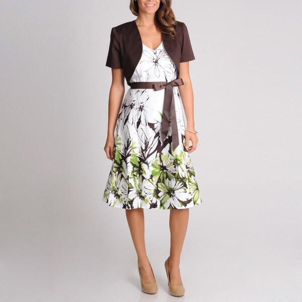 R & M Richards Women's Flower Printed Cotton 2-piece Jacket Dress