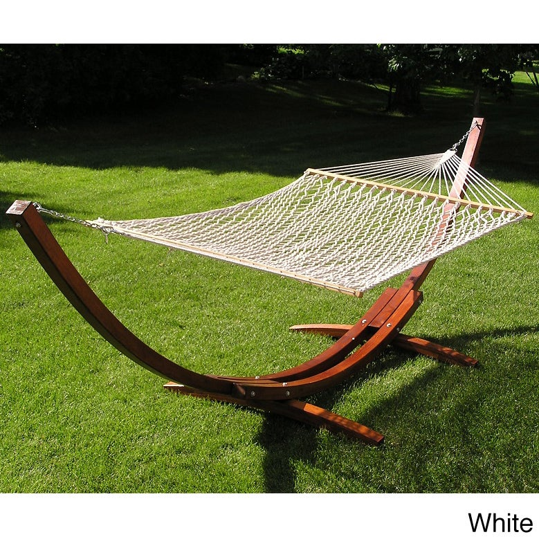 China Deluxe Wood Arc Hammock Stand Brown Rope Set (Delux...