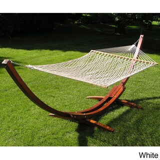 Deluxe Wood Arc Hammock Stand Brown Rope Set (Option: White)