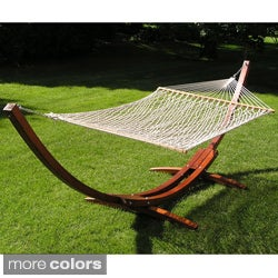 Deluxe Wood Arc Hammock Stand Brown Rope Set