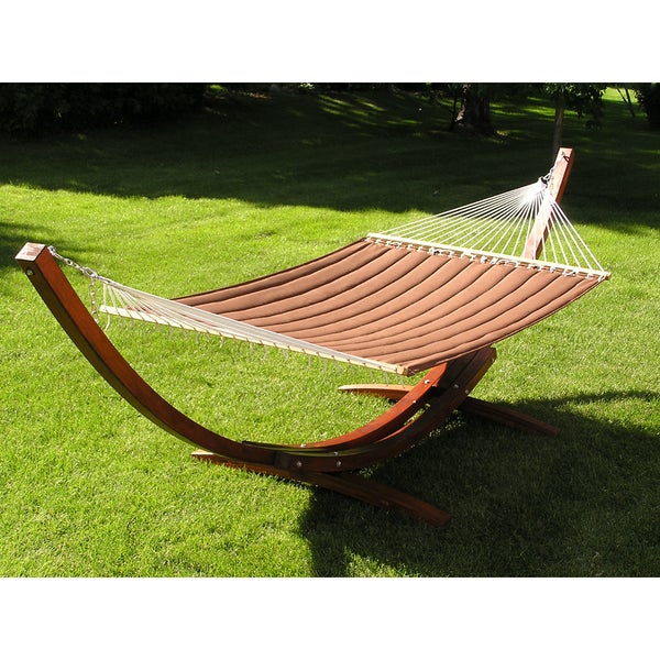 Deluxe Wood Arc Hammock Stand and Quilted Hammock - Brown