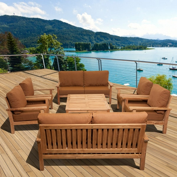 Amazonia Teak San Francisco Deluxe 8 Piece Deep Seating Patio Furniture Set