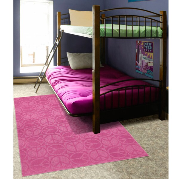 Somette Peace, Love & Pink Area Rug (7'6 x 9'6)