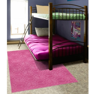 Somette Peace, Love & Pink Area Rug (5' x 7')