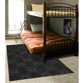 Somette Peace, Love & Black Area Rug (7'6 x 9'6)