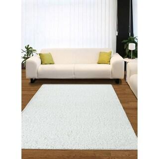Somette Eaton Smith Shag White Area Rug (5' x 7')