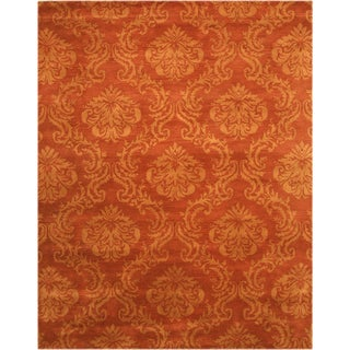 Hand-tufted Wool Rust Transitional Floral Mona Rug (8'9 x 11'9)