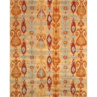 Hand-tufted Wool Beige Transitional Abstract Ikat Rug (7'9 x 9'9)