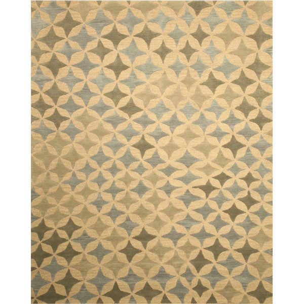 Hand-tufted Wool Beige Transitional Abstract Star Rug (5' x 8')