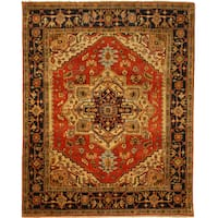 Hand-knotted Wool Rust Traditional Oriental Serapi Rug (12' x 18') - 12' x 18'