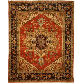 Hand-knotted Wool Rust Traditional Oriental Serapi Rug (12' x 18')