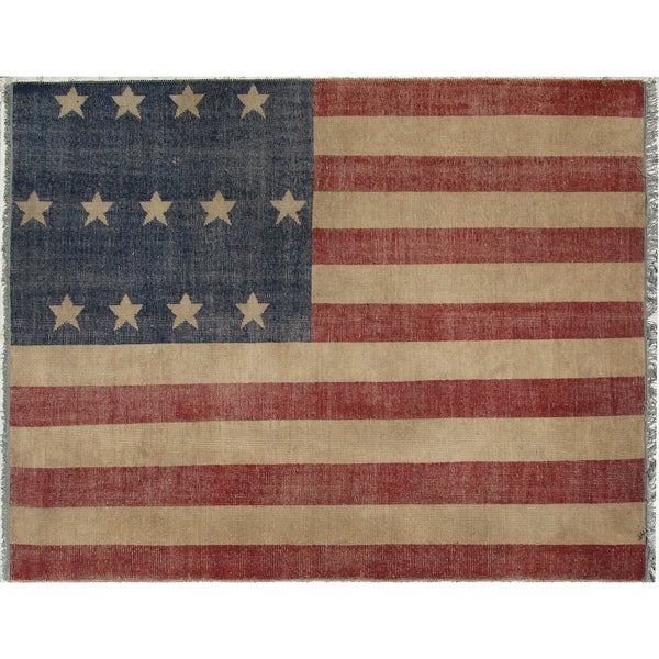 Marvelous Hand Knotted Wool Red Casual Flag American Flag Rug (8u0027 X ...