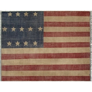 Hand-knotted Wool Red Casual Flag American Flag Rug (8' x 10') - 8' x 10'