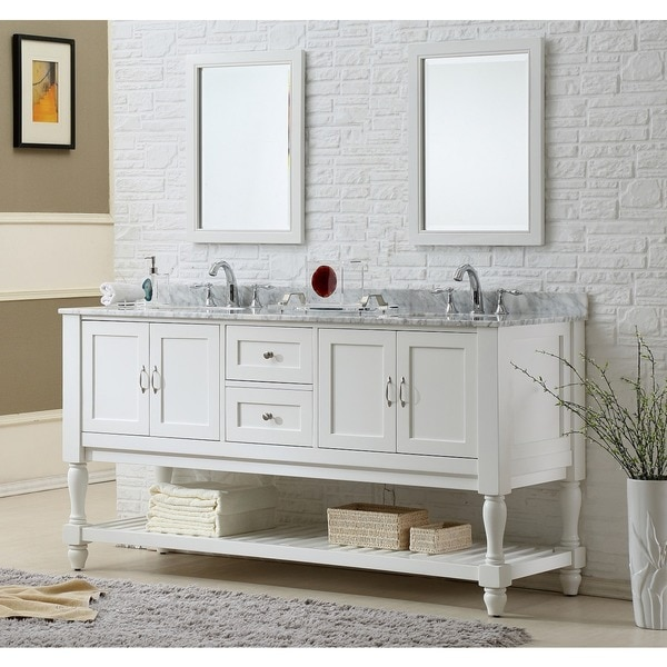 Direct Vanity Sink 70 Inch Pearl White Mission Turnleg Double Vanity Sink Cab